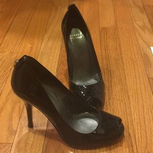 Black peep toe pumps, size 7.5